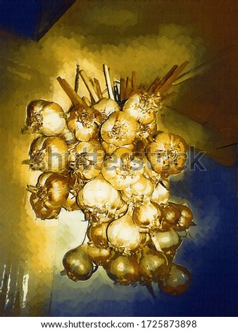 A bunch of garlic hanging on the kitchen wall in the style of an oil painting Gotic