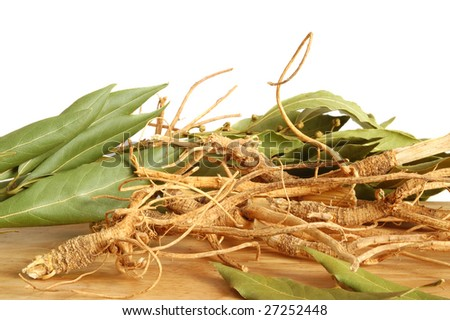 A bunch of ginseng or parsley roots and fresh bay leaves on wooden background
