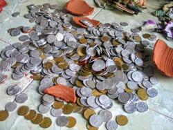 A bunch of Indonesian money coins (celengan pecah)