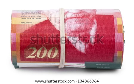 A bunch of 200 Israeli New Shekels (NIS) money notes rolled up and held together with a simple rubber band. Isolated on white background.
