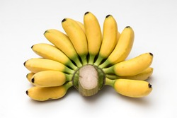 a bunch of lady finger bananas isolated white background.