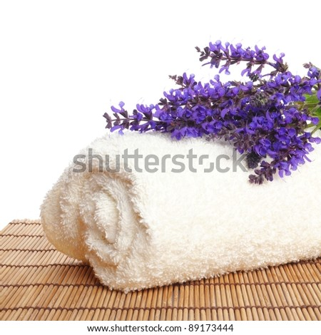 a bunch of lavender on a white towel against white background - stock photo