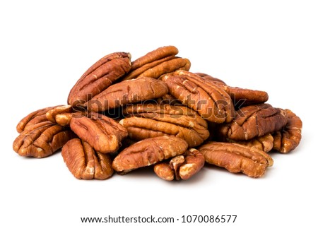 A bunch of peeled pecans on a white, isolated. Foto stock ©