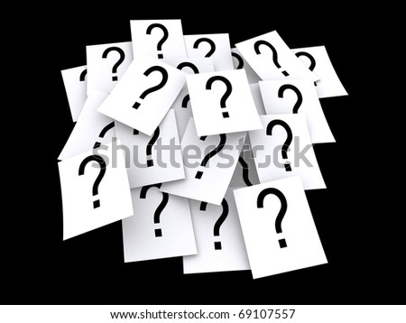 Bunch of question marks on paper stock photo