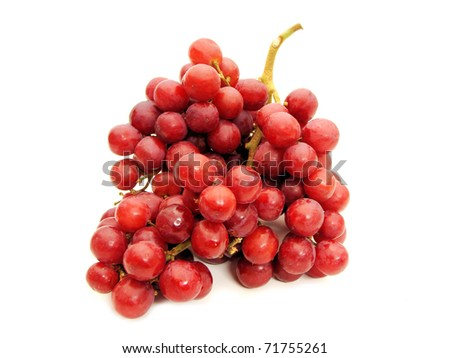A bunch of red grapes against a white background