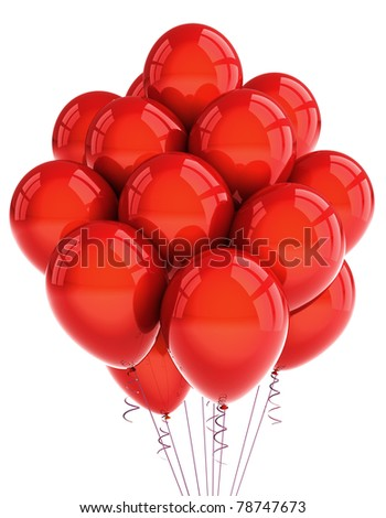 A bunch of red party balloons over white background