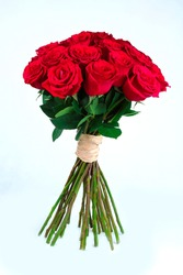 A bunch of red roses, the symbol of Romance