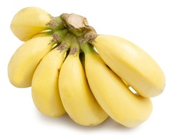 A Bunch of Ripe Organic Bananas, tropical fruit, isolated on white background with clipping path.