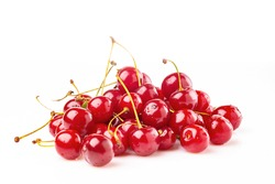 A bunch of ripe red cherries on a white background.
