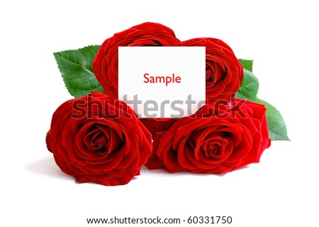A bunch of roses with a greeting card