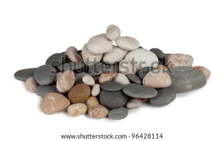 A bunch of round sea pebbles isolated on white background Foto stock ©