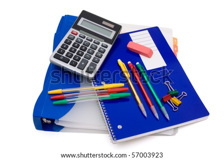 A bunch of school supplies with pens and pencils, back to school