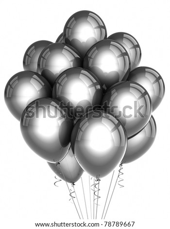 A bunch of silver party balloons over white background