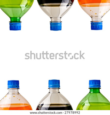 A bunch of soda bottles isolated on a white background.
