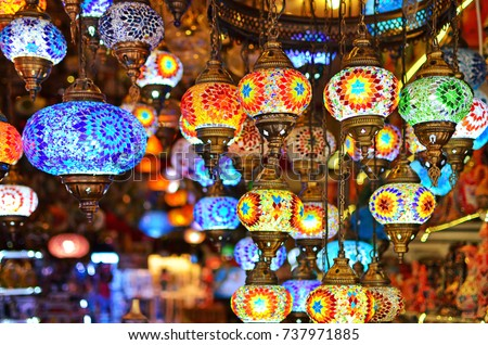 A bunch of turkish lamps at one of many Kemer gift shops. Antalya, Turkey.
