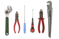 A bunch of used isolated tools isolated on white background.