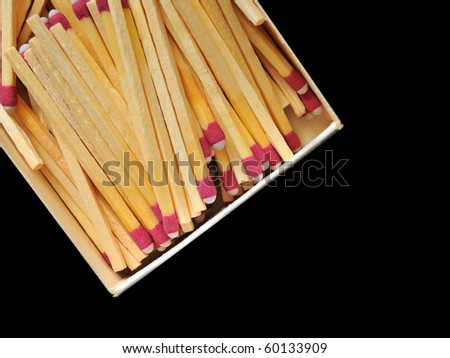 A bunch of wooden matches in a box isolated on a black background