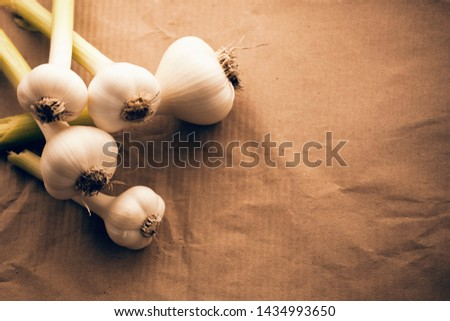 a bunch of young fresh (spicy) garlic, covered and cleaned, not cleaned on a horizontal surface without anyone, from a close distance, with a space