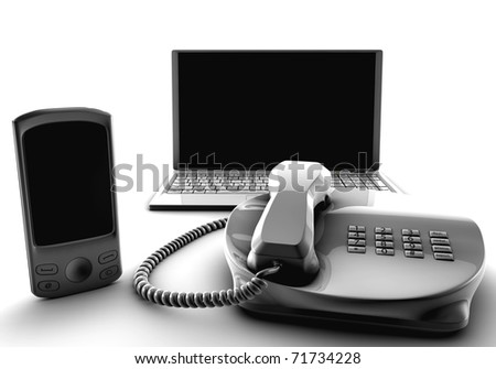 A bundle of fix and cell and laptop isolated on white