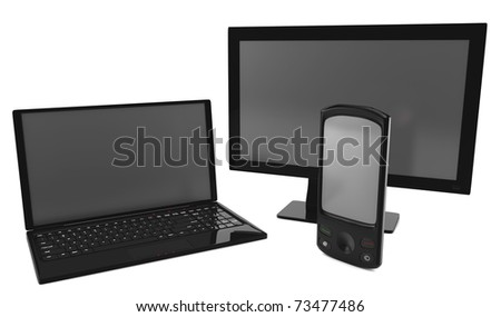 A bundle of telco services isolated on white.