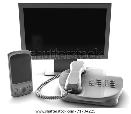 A bundle of TV cell and fix phone  isolated on white