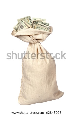 A burlap sack of cash on a white background. - stock photo