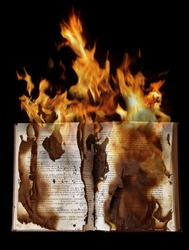 a burning book