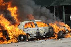 A burning car.