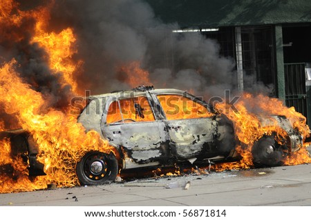 A burning car.