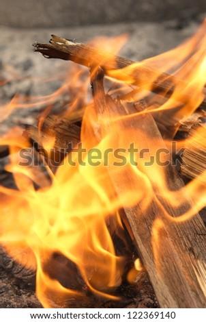 A burning Fireplace, Campfire - stock photo