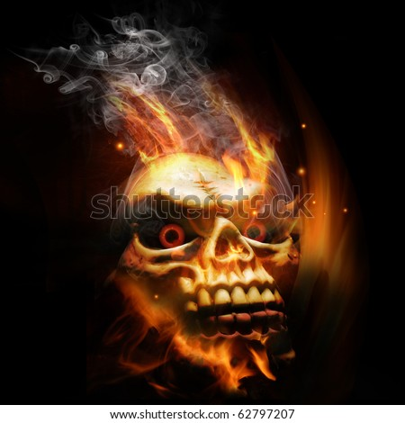 A burning skull with red eyes.