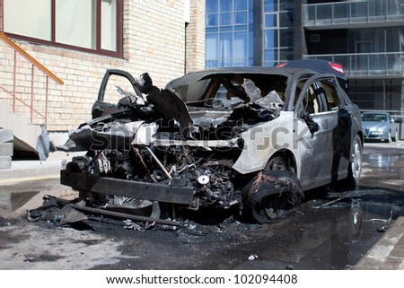 A burnt car