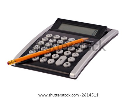 A business calculator with a pencil on it photographed on a white background