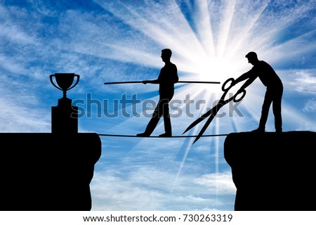 A business competitor with big scissors in his hands intends to cut the rope along which the businessman goes to the trophy. The concept of envy of rivals to the success of another person