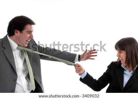 A business couple fighting isolated on white