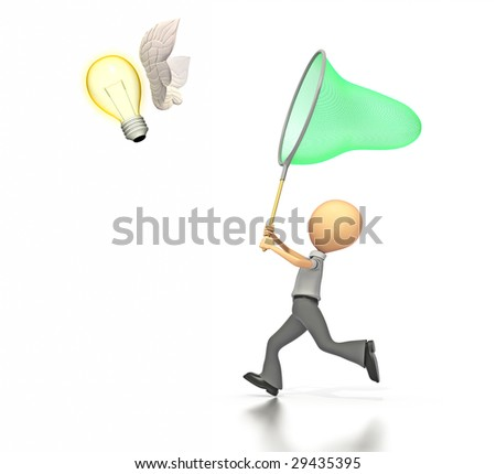 A business figure holding a butterfly net is trying to capture a light bulb with wings.  On a white background with a clipping path.