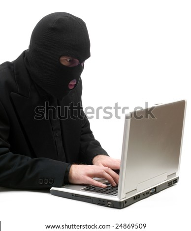 A business hacker is breaking into a laptop computer and stealing information, isolated against a white background