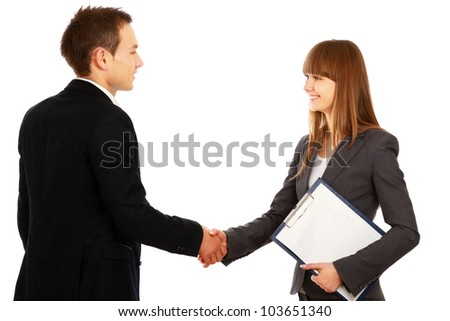A business handshake, isolated on white background