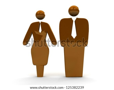 A business-man and business-woman. 3d illustration