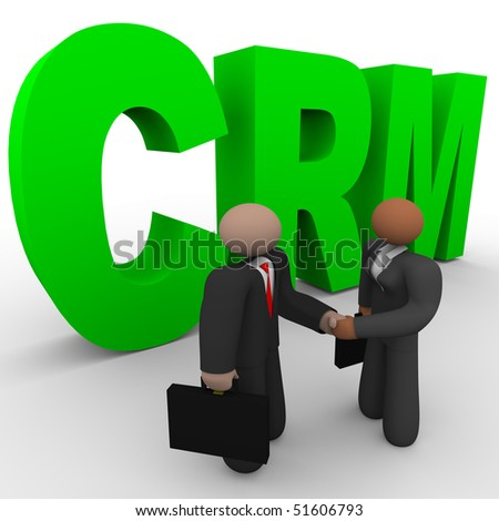 A business man and woman shake hands in front of the letters crm