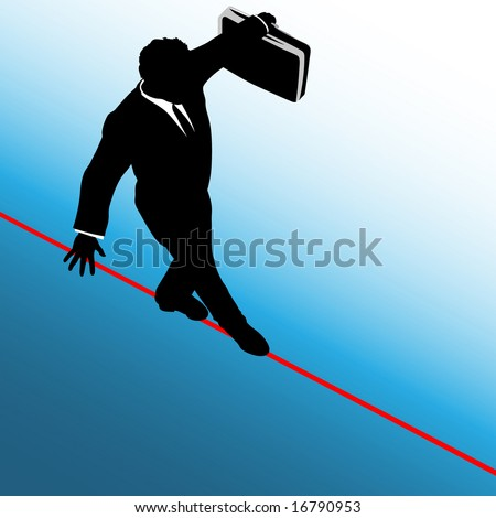 A business man balances with a briefcase, walks a high wire tightrope, above risk and danger, blue background. The man is on a clipping path.