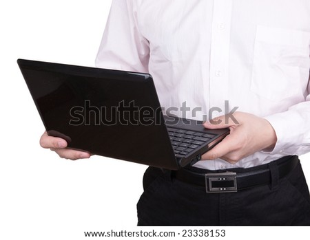 A business man holding a black laptop ,isolated on white background.