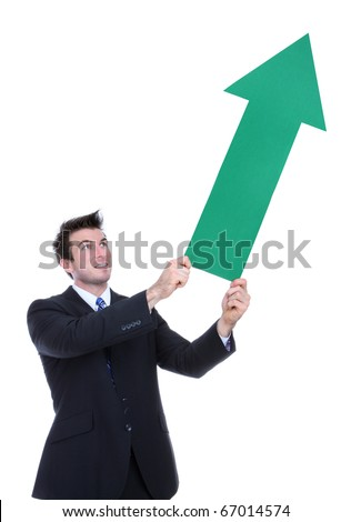 A business man holding a green arrow up indicating success
