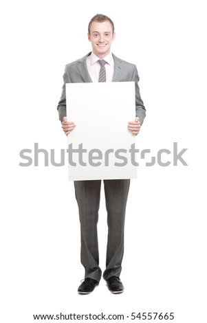 A business man holding an empty sign