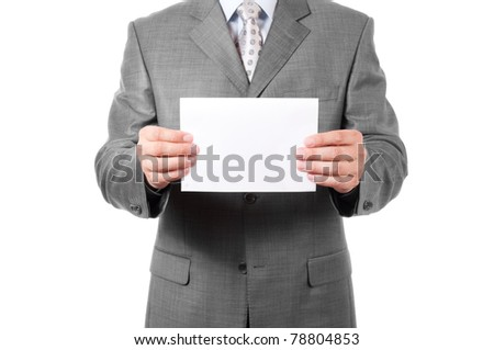 A business man holding blank paper