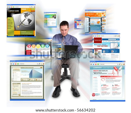 A business man is sitting on a white, isolated background and is working on a laptop computer. He is browsing technology websites that are zooming out. Can represent speed or commerce. - stock photo
