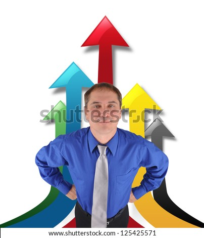 A business man is standing proud with upwards arrows on a white background. Use it for a business or profit concept.