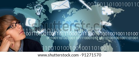 A business man is using the internet for fast communicating and daily affairs. Icons of mail, pen puzzle, phone and big world map on background