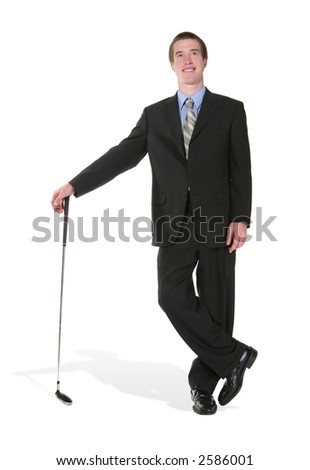 A business man leaning on a golf club