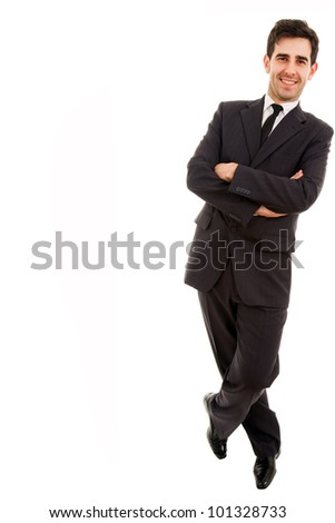 A business man leaning on white background